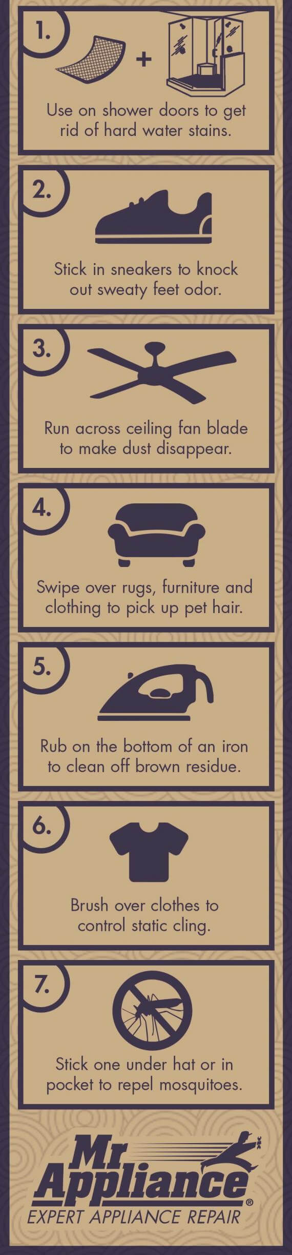 Other Uses for Dryer Sheets Infographic