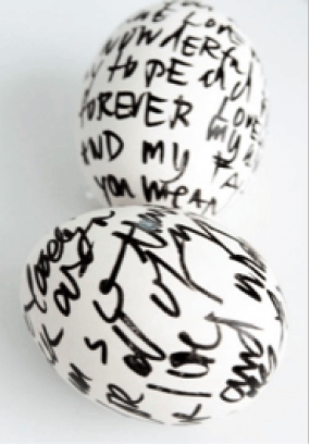 Easter Eggs with Black Writing