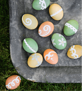 Colorful Easter Eggs with White Etched Designs