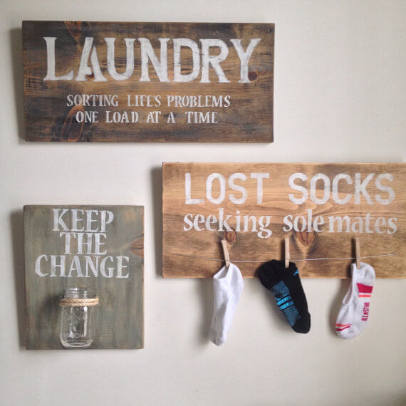 Fun Laundry Signs Hanging on Wall