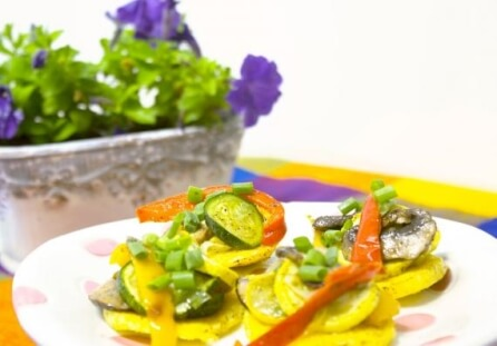 Fried Polenta with Veggies